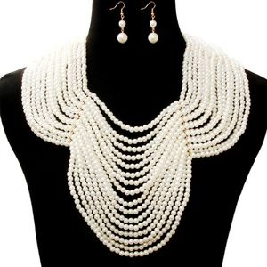 Pearl Necklace with Back Drop Chain